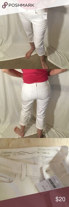 Coldwater Creek NWT white Capri jeans Jean material cropped leg natural fit jeans Coldwater Creek Jeans Ankle & Cropped
