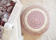 Crochet Pouf  Pastel Colors  Housewares  Home by NavitrineShop