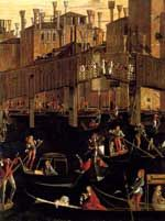 Gentile Bellini - Miracle of the Holy Cross - 1494.  Venetian Renaissance. One of several paintings of this annual event in early Venice.