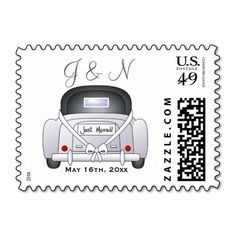 Just Married Wedding Thank You Stamp