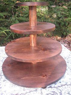 Cupcake Stand Wedding Round Dark Stain Wood by YourDivineAffair, $129.95