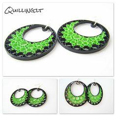 Quilling.lt: Auskarai...žalia