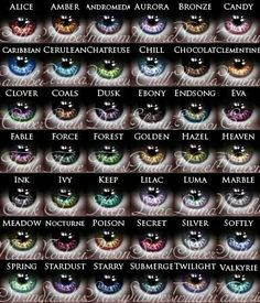 Eye color chart for the fun humans like me who wish for their characters to have entrancing, wild eyes Writing Advice, Writing Help, Writing A Book, Writing Prompts, Writing Ideas, Story Prompts, Story Inspiration, Writing Inspiration, Colored Contacts