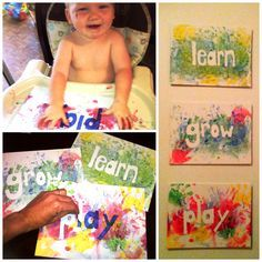 YES, YES and YES! Doing this!! Toddler or baby art! Stickers and finger paint