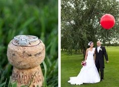 Catheryne & Hugo wedding, like the champagne shoot and red balloon