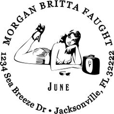 Throughout World War II, the Pin Up girl turned into an iconic part of American culture. Six decades later, these pretty ladies are just as trendy as ever! If you are looking for a sexy stamp, look no further, this Pin Up Girl June Address Stamp is right on the money.