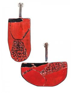 Apron Earrings - Small Red