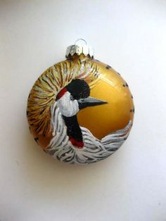 hand painted glass ornament disc