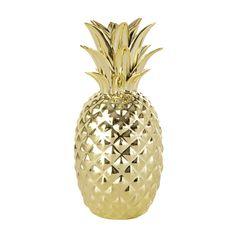 Statuette ananas dorée H 23 cm