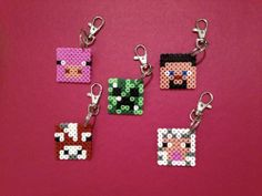Hama Bead 'Minecraft' themed designs with lobster style key rings.  Price is per keyring and the choices so far are:-  * Steve * Creeper * Cow * Pig * Sheep  Other designs to follow.  Please allow up to 5 working days.  Posted Royal Mail 2nd Class – Deliver to the UK only – multiple items can be ordered with combined postage cost – please contact me for further details.  £1.50 + 50p PP