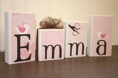 Personalized wood blocks with any name or theme - Emma - Migi Blossom Bananafish Pink. $7.00, via Etsy.