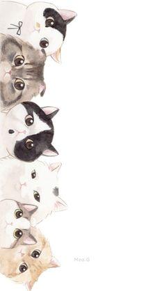 Flower Iphone Wallpaper, Cute Cat Wallpaper, Wallpaper Iphone Disney, Rose Gold Wall Art, Black Paper Drawing, Cat Background, Cat Sketch, Cute Chibi, Cat Drawing