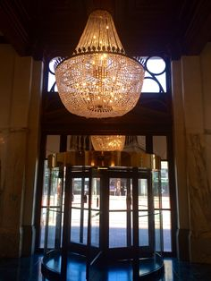 Large Chandelier at entrance of Hotel Whitcomb