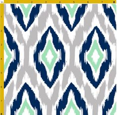 Designer fabric in navy, gray, mint, and white Ikat pattern Printed on 100% Kona cotton fabric, made from ring-spun yarn 4.5 oz per square yard Thread count: 60x60 Appropriate for quilting, appliqué, shirting, dresses, childrens clothing, and home decor. Estimated shrinkage: 2% in length and 3% in width Machine wash warm or cool on a gentle/delicate setting, using phosphate-free detergent If you would like more than one yard of fabric, adjust the quantity while checking out and one c...