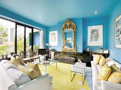 Decorate A Blue Living Room - The range of colours for the cool scheme can be a great choice for your living room. One of the most popular cool color scheme for your living room is. Blue And Yellow Living Room, Blue Rooms, Blue Walls, Blue Yellow, Lemon Yellow, Bright Yellow, Bright Colors, Colours, Green