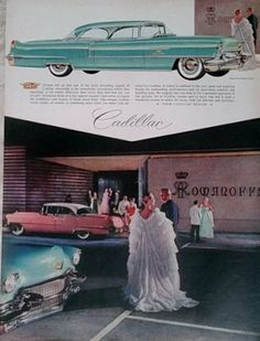 1950s Cadillac Ad General Motors GMC Advertisment Gowns by Inkart, $3.00