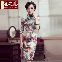 Fascinating Rose Flowers Silk Cheongsam Qipao Dress - Qipao - Cheongsam - Women