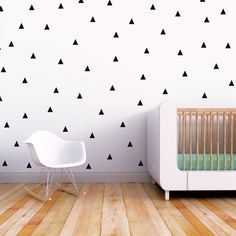 Wall Decal Black Triangle Baby Nursery Wall Decal Kids Wall Decal Modern Nursery Wall Decal. Little Peaks Children Wall Decal