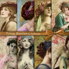 Vintage Beauties - Digital Collage Sheet - Digital Paper - Vintage ...