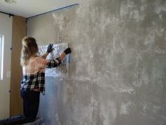 Do you need a dramtic apperance to your home, space, or office? Kari Caldwell will show you how to use Meoded plasters to create an elgantly distressed and brok Painting Concrete Walls, Cement Walls, Plaster Walls, Concrete Wall Texture, Sponge Painting Walls, Painting Textured Walls, Concrete Ceiling, Faux Walls, Distressed Walls