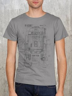 Grunge Blueprints of R2D2 Unit - Men's T-Shirt - Available in S, M, L, XL and 2XL on Etsy, $22.50