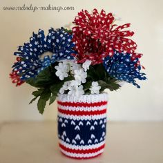July-4th- Crochet and Knitting Pattern Mason Jar Cozy