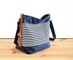 Diaper bag / Waxed canvas bag / Messenger bag / Maxi bag / Nappy bag / Canvas bag / Marina no.2 Navy