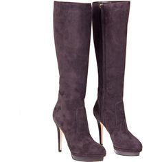 Jimmy Choo mink coloured 'Toxic' boot in kid suede. Inside zip fastens blunt toe shape and seam detail. High suede covered heel and patent grey covered platfor…