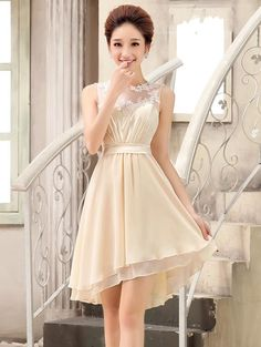 >> Click to Buy << Knee-length Tiered Jewel Net Neck Appliques Bridesmaid Dresses 2016 New Popular Wedding Party Dress #Affiliate