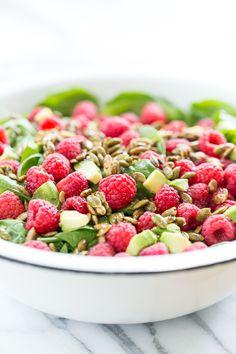 Raspberry Spinach Salad with Caramelized Garam Masala Pumpkin Seeds   GI 365