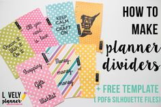 Free template (pdf+silhouette files) to create your planner dividers