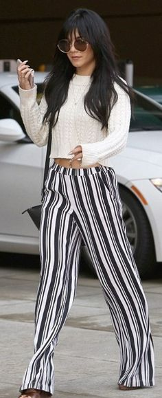 That Girl! Vanessa Hudgens goes for a groovy retro look in shades and striped bell bottoms while out shopping in Beverly Hills 70s Outfits, Cool Outfits, Casual Outfits, Fashion Outfits, 70s Fashion, Star Fashion, Fashion Trends, Fashion Styles, Celebrity Outfits