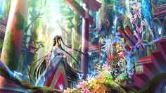 Anime 1920x1080 anime girls Fuji Choko black hair blue eyes butterfly Asian architecture flowers forest hair ornament Japanese clothes kimono long hair lotus flowers miko moss nature stairs sunlight tiaras torii trees straight hair original characters landscape oriental manga fantasy girl