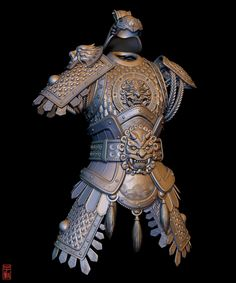 Chinese Body Armour (Remake of Original by Alexandre Fiolka), Zac Goh Chinese Armor, Warrior Outfit, Helmet Armor, Armor Concept, Concept Art, Pauldron, Art Costume, Costumes, Monkey King