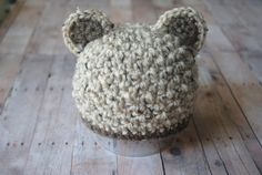 Baby Boy Bear Hat  Brown and Oatmeal by ELMCrochet on Etsy, $20.00