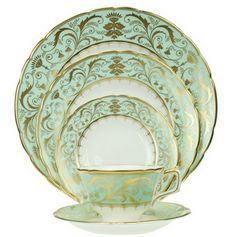 """Darley Abbey"" by Royal Crown Derby fine china Royal Crown Derby, Crown Royal, Traditional Dinnerware, Dish Display, Mint Gold, Mint Green, China Sets, Pretty Green, China Dinnerware"