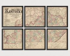 Old Kentucky Map Art Print 1862 Antique Map Archival Reproduction - Set of 6 or 8 Prints