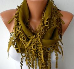 Olive Green Scarf  --by fatwoman, $13.50