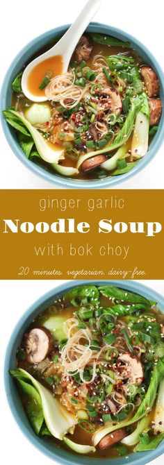 20 Minute Ginger Garlic Noodle Soup with Bok Choy #vegetarian #soup #noodles #boychoy #ginger #garlic #healthy #easyrecipe #dinner