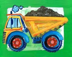 Dump Truck  Kids wall art 8x10 print by bealoo on Etsy, $15.00