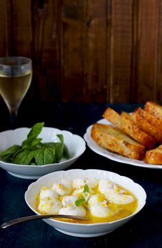Marinated Fresh Mozzarella in Tangerine Champagne Vinaigrette Crostini