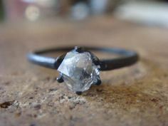 Herkimer Diamond Ring Oxidized Silver