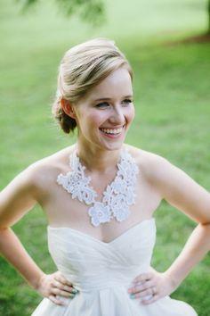 lace necklace from her mother's wedding dress via @Sharon Macdonald Macdonald murphy Weddings Magazine