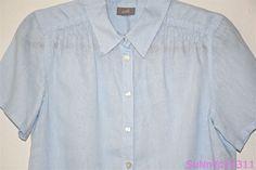 J. JILL Top Shirt Blouse Blue Linen SS Solid Button Front JJill J.JILL Tunic  #JJill #ButtonDownShirt #Versatile