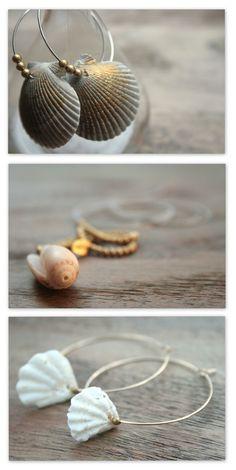 Beach Jewelry Sea Shells Hoop Earrings and Necklace Handmade Boho Chic Jewelry by MarlaH