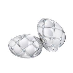 Fabergé Treillage Or Blanc Cufflinks Polished #Fabergé #cufflinks