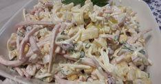 Składniki:  1 słoik selera w wiórkach  1 puszka kukurydzy  1 puszka ananasa  1 czerwona cebula  2 małe jabłka  2-3 ogórki kiszone  150 g ... Cooking Recipes, Healthy Recipes, Healthy Food, Vegan, Pasta Salad, Potato Salad, Cabbage, Salads, Food And Drink