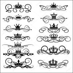 Baixar - Pergaminhos vitorianos e coroa. elementos decorativos. vintage — Ilustração de Stock #7488734