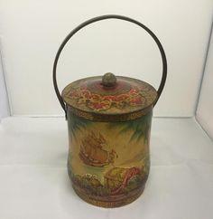 Vintage Biscuit Tin Barrel Hidden Treasure Scenes Caribbean Ships 15cm High