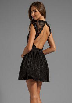 Alexis Vendela Short Lace Dress in Black@revolveclothing